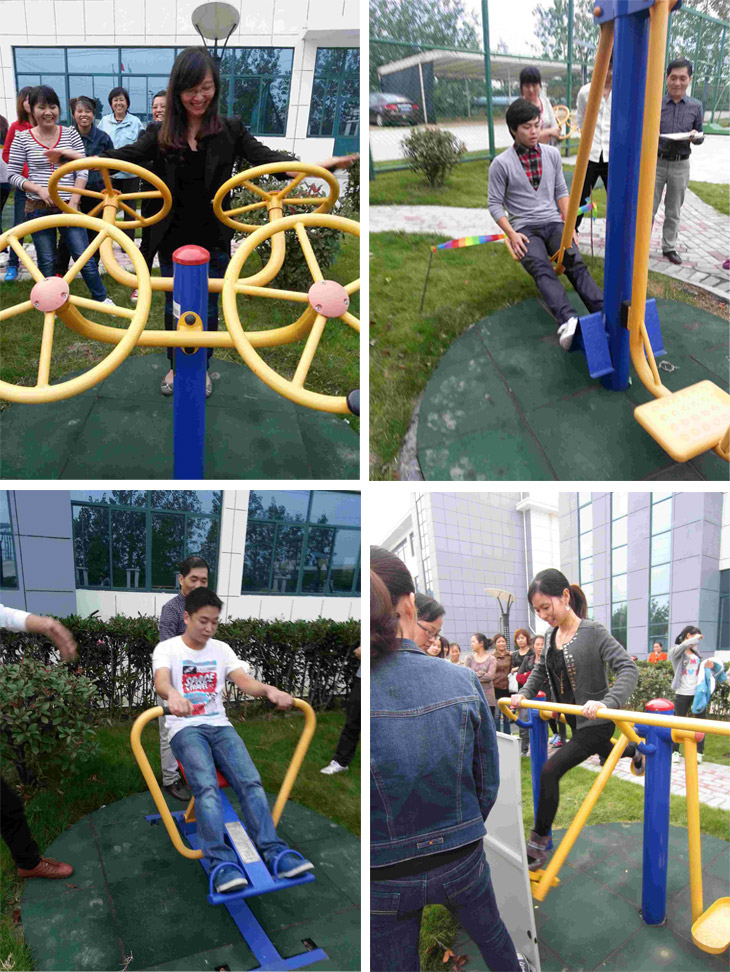 To enrich employees amateur life, around a series of fitness equipment, the company held a special fun exercise.